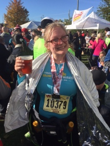 Post Grand Rapids half marathon. I'd like to say I run to fully experience my life as a non-mom, but it's largely for free beer and a shiny warmth blanket.
